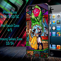 Beauty and The Beast Stained Glass Samsung Galaxy S3/ S4 case, iPhone 4/4S / 5/ 5s/ 5c case, iPod Touch 4 / 5 case