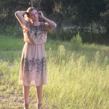 Vintage Bohemian Dress - Sixties Floral Dress - Sheer - S/M/L - Neutral Color