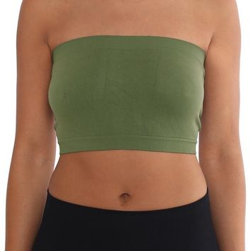 Women's Strapless/Seamless Tube Top Bandeau - Light Olive