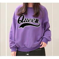 "Fashion Women ""Queen"" Letter Print Top Sweater Pants Sweatpants Set Two-Piece Sportswear"