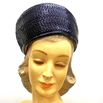 Vintage Ladies Hat Navy Blue Cellophane Straw Bubble 1950S Small T-Adore