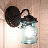 Vintage BLUE Canning Jar SCONCE Light