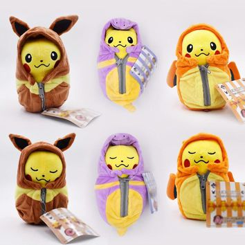 6 Styles Cartoon Plush Pikachu Cosplay Charizard Eevee Ekans Sleeping Bag Plush Toys Cartoon Fashion Toys Plush Dolls 20cm