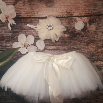 Beautiful White Tutu with Pearl and Rhinestone Flower matching Headband Baby Girl Photo Prop!