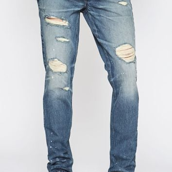 PacSun Stacked Skinny Vertical Stretch Zip Destroy Indigo Jeans at PacSun.com