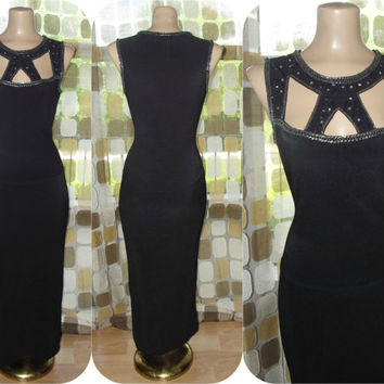 Vintage 90s Dress | 1990s Gown | Cut-Out Cage Neckline| Beaded Rhinestone Formal | Long Black Jersey Dress | Sexy | Red Carpet | Sz Medium