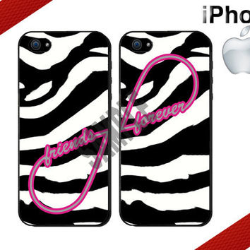 Friends Forever iPhone Case - iPhone 4 Case or iPhone 5 Case - Infinity - Zebra Print iPhone Case - Two Case Set