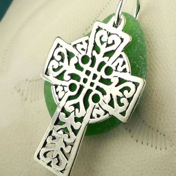 Irish Jewelry - Green Sea Glass Necklace Sterling Silver Celtic Cross Pendant