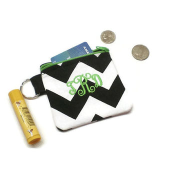 Monogrammed black chevron zippered coin purse pouch, change bag. CHOOSE YOUR COLORS! Personalized gift. Under 15 gift. Stocking stuffer.
