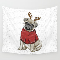 Reindeer Pug Wall Tapestry by lostanaw