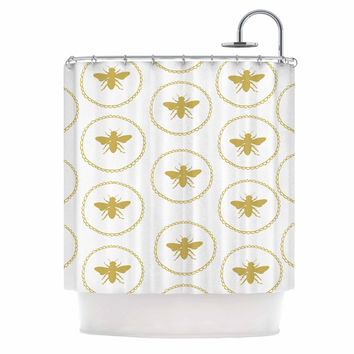"Jennifer Rizzo ""Busy As A Bee White And Maize"" Yellow Nature Shower Curtain"