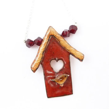 Red Heart Birdhouse Necklace