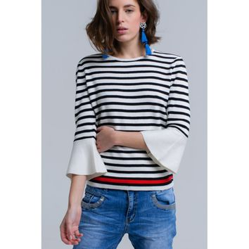 White striped sweater with bell sleeves