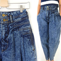 "Vintage 80s 90s High Waist Acid Wash Tapered Mom Jeans - Deadstock Women's Mixed Blues Denim Pleated Baggy Mom Jeans - Szie 9 27"" Waist"