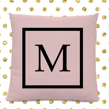 Initial Pillow - Letter Pillow - Pillow with Letter M - Monogrammed Pillow - Custom Throw Pillow - Pink Letter Pillow