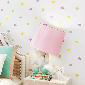 Environmental Protection Non-Woven Wallpaper Children's Room Cartoon Color Lovely Dot Wall Paper 3D Boys And Girls Bedroom Decor
