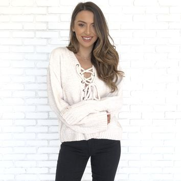 With A Smile Lace Up Sweater in Ivory
