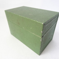 file box metal tin green with lid index card office storage container