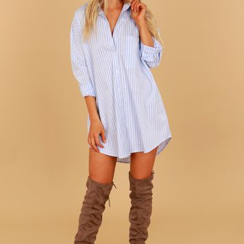 Striped Blouse Tunic Blue