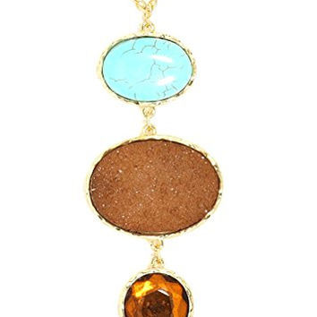 Tiered Druzy Crystal Necklace Amber Geode NT65 Turquoise Oval Statement Pendant Gold Tone Fashion Jewelry