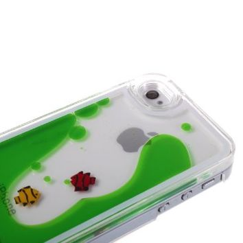 Nine States 3D Transparent Hard Plastic Floating Fish Couple Case for Apple iPhone 4 4s (Green)