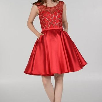 Sheer illusion sweetheart neckline gold sequins bodice red homecoming dress poly #8040
