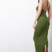 Open Back Cross Strap Bodycon Maxi Dress