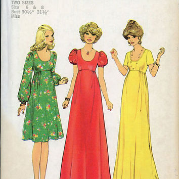 Simplicity 7245 Sewing Pattern 70s Retro Disco Boho Hippie Style Peasant Dress Empire Waist Maxi Midi Blouson Sleeve Uncut FF Bust 30 32
