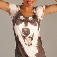 black white dog wolf women tshirt top tie dye by nikacollection
