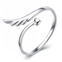 Fashion Open Mouth Heart Love Angle Wing Finger Rings Tail Ring Fit Girl or Women