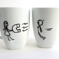 The Magnetic Love - Hand Drawn inspired coffee mugs