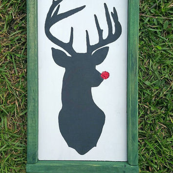 Framed Rudolph Red Nosed Reindeer Silhouette Sign, Glittery Nosed Deer Wood Wall Hanging, Handpainted Christmas Decor Sign