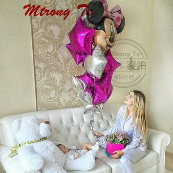 11pcs/lot Minnie Mouse 18inch Rose Red Silver Foil Balloons Baby Shower Birthday Party Decoration Kids Toys Supplies Air Globos