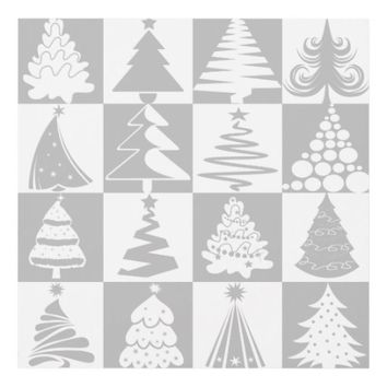 Silver Gray And White Christmas Tree Holidays Panel Wall Art
