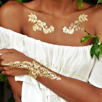 Flash Tattoos Sheebani Temporary Tattoos in Metallic