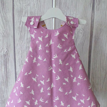 Plaid Reversible Dress / Baby Pinny Dress / Vintage Style Pinafore / Orchid and Pink / Metallic Plaid / Size 9 Months