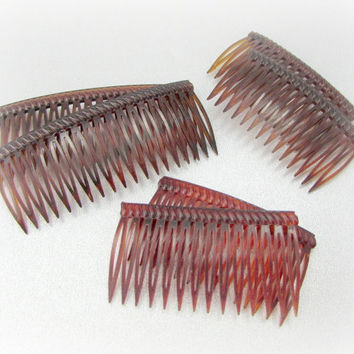 Vintage Hair Comb Set, Faux Tortoise-Shell Hair Combs, Brown Red Hair Combs, Plastic Hair Combs, 1970s Fashion Accessories, Hair Accessories