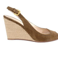 Prada Brown Suede Peep Toe Slingback with Rope Wedge Shoe Size EU 38