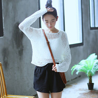 Women Cute Open Knitted Loose Fit Pullover Knit Sweater