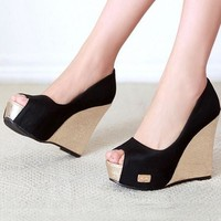 Black Piscine Mouth Fashion Wedges Shoes