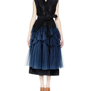 Dries van Noten Roline Sleeveless Wrap-Front Degrade Tulle Dress, Black/Navy