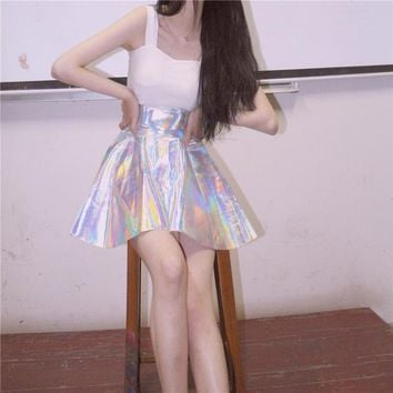 Harajuku Women Summer Skirts Fashion Casual Shiny Fluorescent Skirt Laser High Waist Pleated Skirt