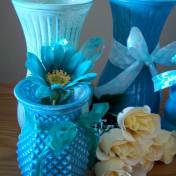 SALE! Teal and Mint Vases Table Decor/ Teal and Mint Wedding/ Wedding table Vases/ Repurposed Vintage Vases/ Centerpiece Vases set of 6