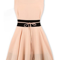 ROMWE Color Block Self-tied Pleated Pink Pleated