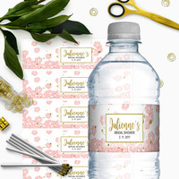 Pink and Gold Bridal Shower Water Bottle Labels-Glitter Modern Floral DIY Printable Personalized Bridal Shower Water Bottle Labels Wrappers