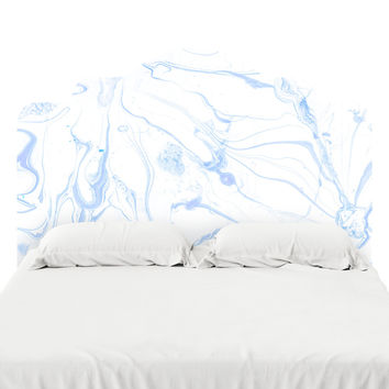 Marble in Pale Blue Headboard Decal