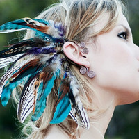 sequoia nights....tribal feather ear cuff