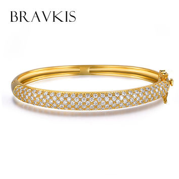 BRAVKIS vintage simple micro pave CZ stone bangles bracelet for women screw cuff armband necklace fred deluxe jewellery BUB0039