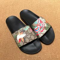 Gucci Casual Fashion Women Floral Birdie Print Sandal Slipper Shoes