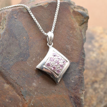 Sterling Silver Moern Square Pendant with Pink Stones on Sterling Silver Box Chain